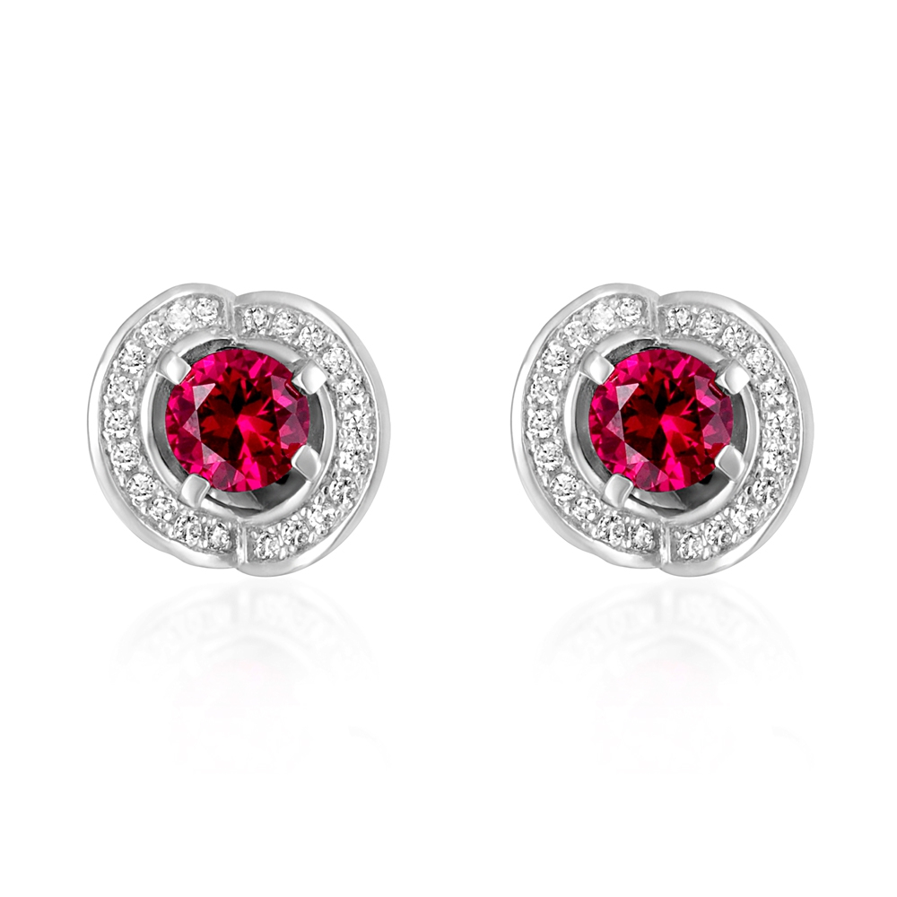 102 White and Red Swarovski Crystal Zirconia and 925 Silver Earrings