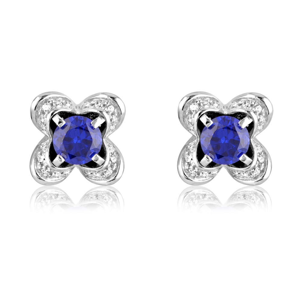 114 White and Blue Swarovski Crystal Zirconia and 925 Silver Earrings