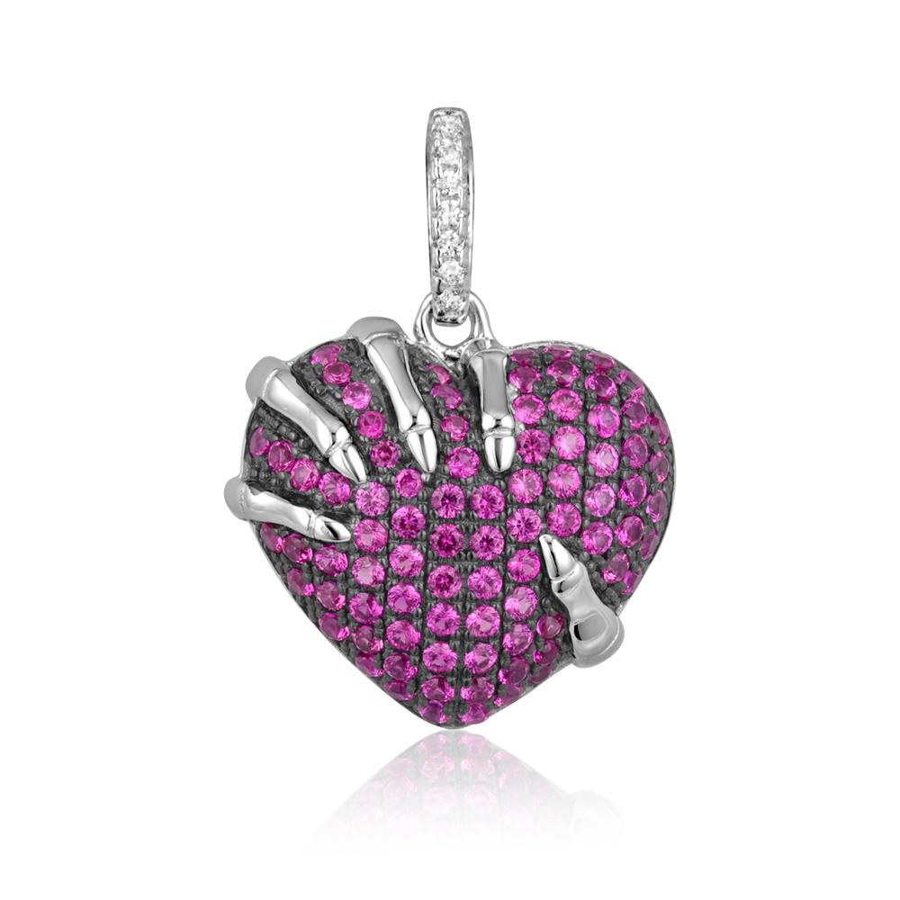 Ketten - Herz Anhänger 925 Silber und 90 Rosa Kristall Swarovski Zirconia  - Onlineshop Blue Pearls