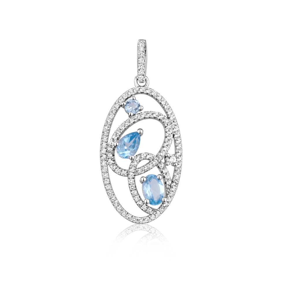 111 White and Blue Swarovski Zirconia Crystal Pendant and 925 Silver