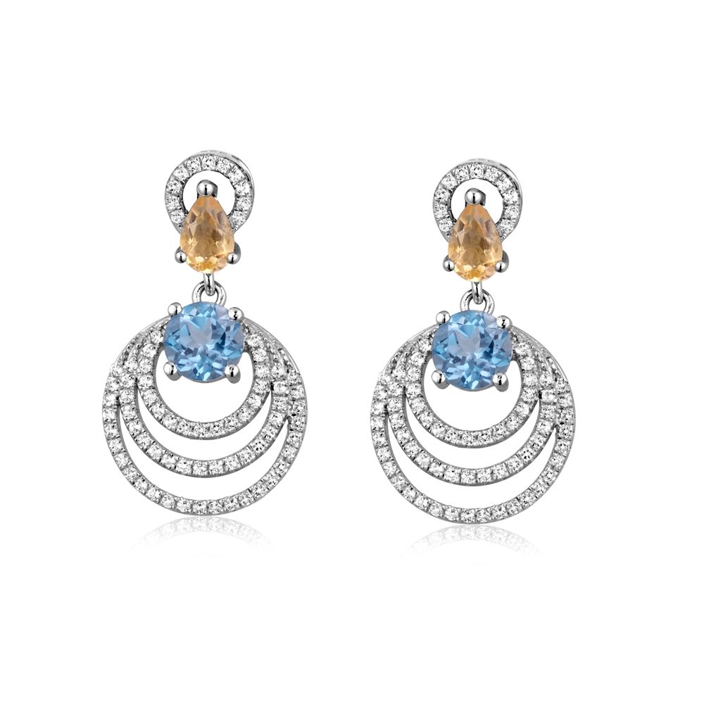 128 White Swarovski Crystal Zirconia, Blue Topaz and Citrin and 925 Silver Earrings