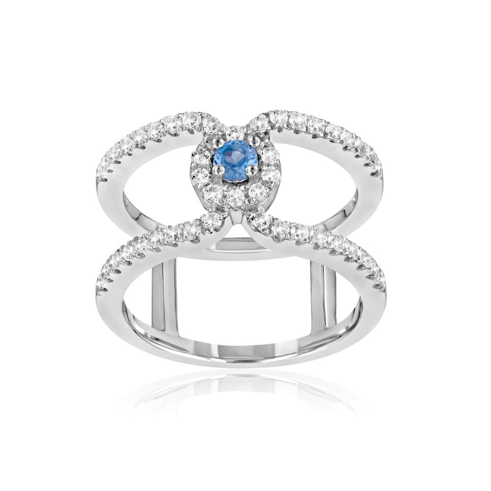 Ringe - 925 Silber Ring und 47 Weissen und blauen Kristall Swarovski Zirkonia  - Onlineshop Blue Pearls