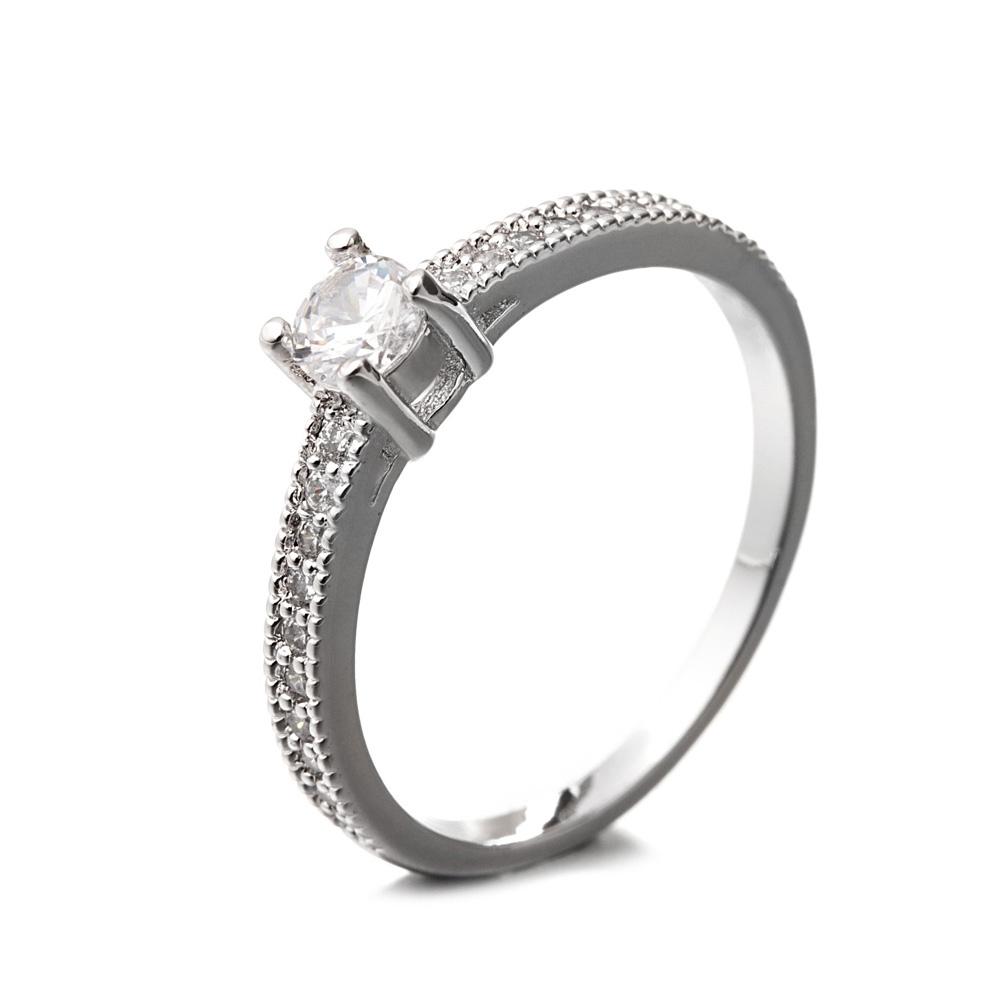 Ringe - Ring mit Rhodium überzogen und weißen Zirkonia Steinen  - Onlineshop Blue Pearls