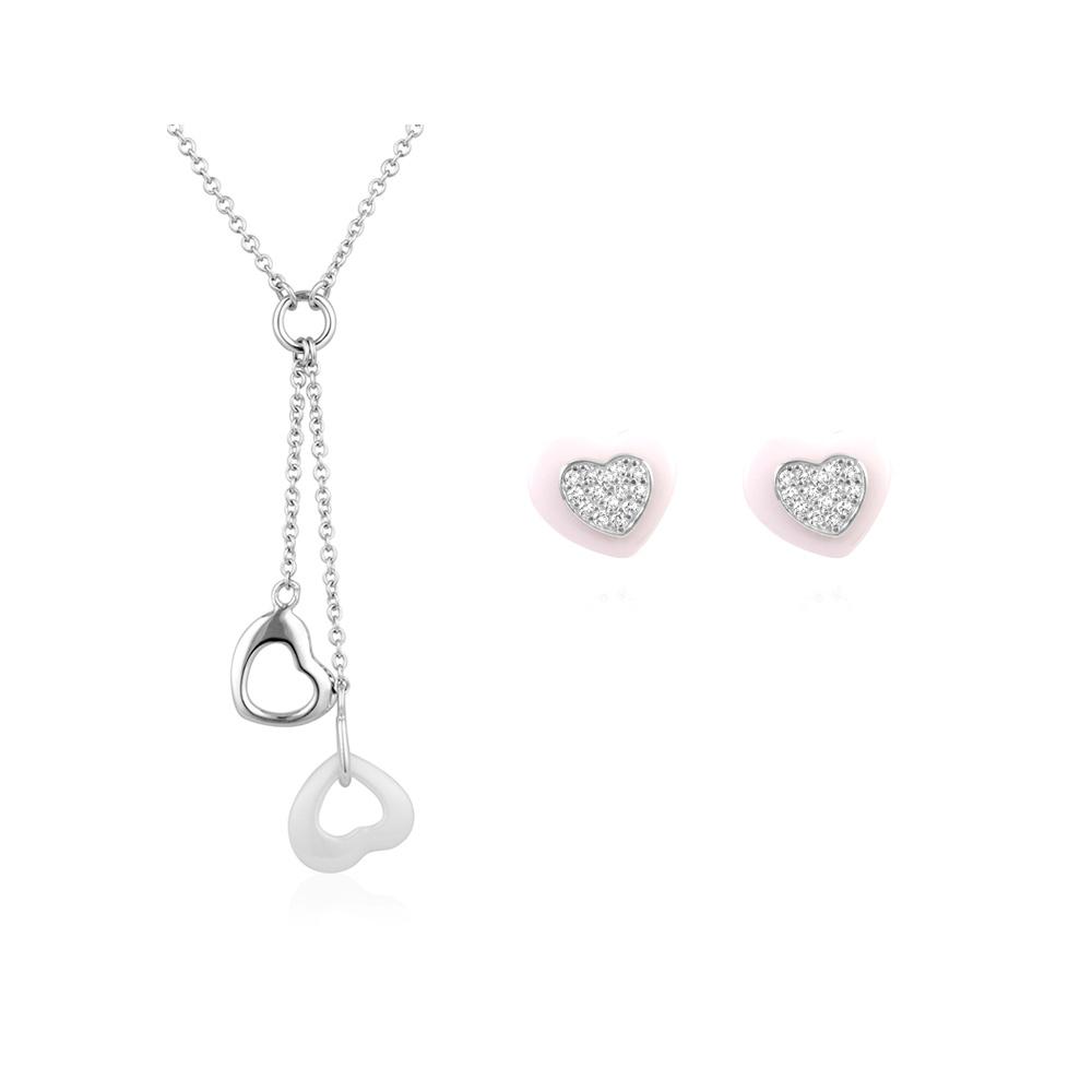 Schmucksets - Schmuckset Herz Halskette und Ohrringe weisser Keramik, 925 Silber  - Onlineshop Blue Pearls