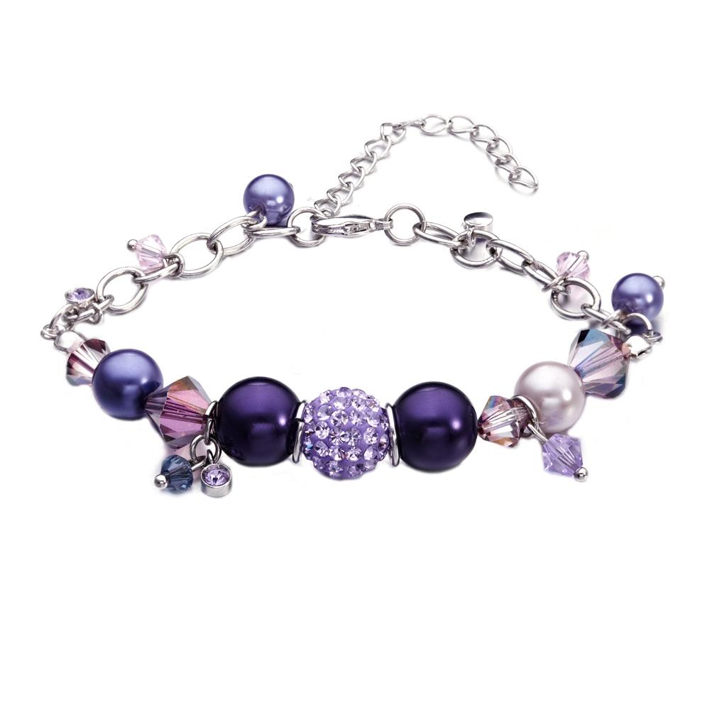 Armbaender für Frauen - Perlen Armband mit violetten und rosafarbenen Swarovski Elements und Rhodium überzogen  - Onlineshop Blue Pearls
