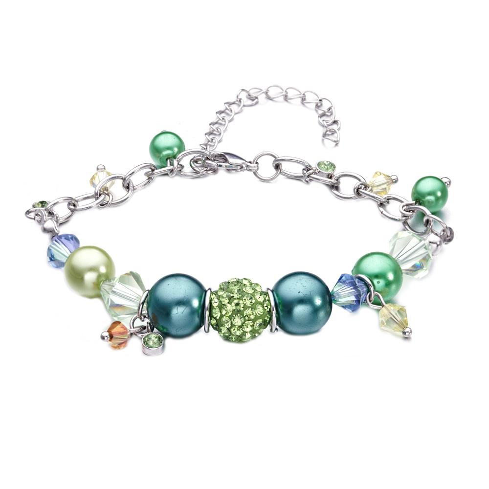 Armbaender für Frauen - Perlen Armband mit grünen und rosafarbenen Swarovski Elements und Rhodium überzogen  - Onlineshop Blue Pearls