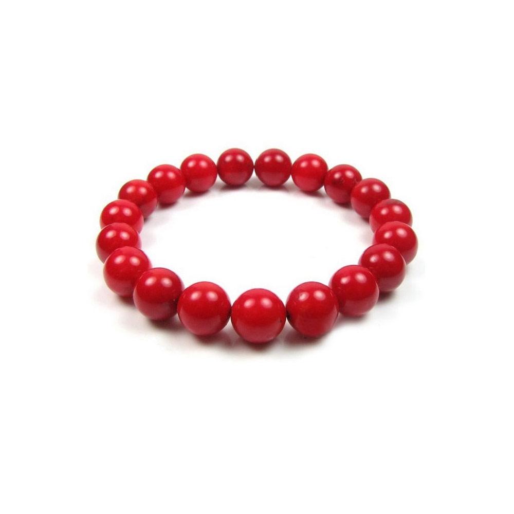 Armbaender für Frauen - Armband Strecke rote Korallen Perlen  - Onlineshop Blue Pearls