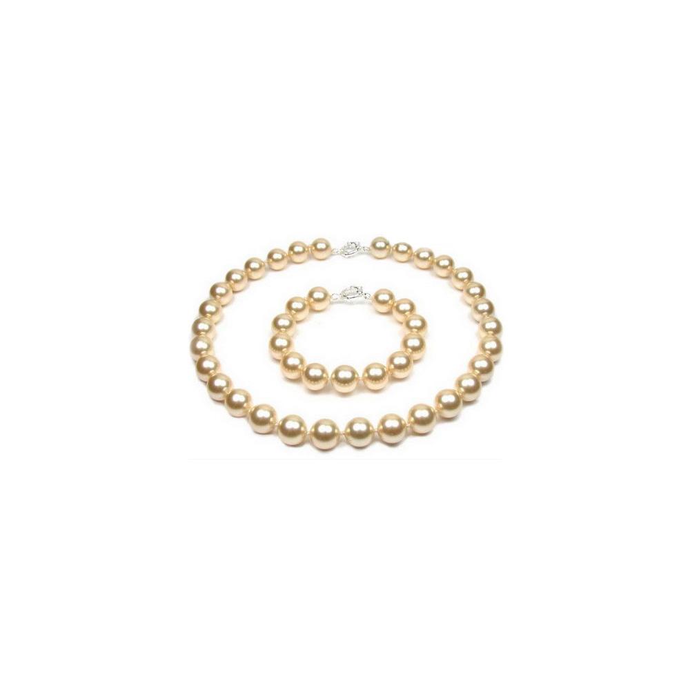 Schmucksets - Schmuckset Halskette und Armband Goldene Perlen und 925 Sterlingsilber  - Onlineshop Blue Pearls
