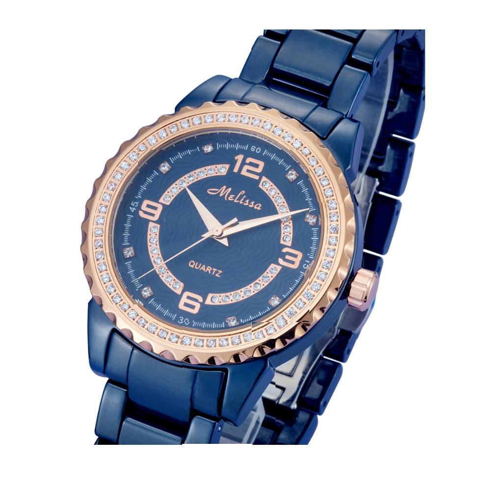 rose gold white swarovski crystal elements and blue watch. Black Bedroom Furniture Sets. Home Design Ideas