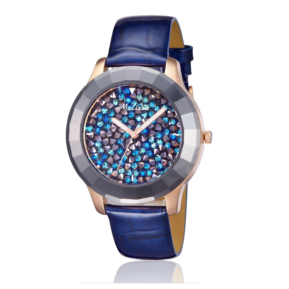 Kristalluhr blaue Swarovski Elements und Lederband Armband Blau | 4519
