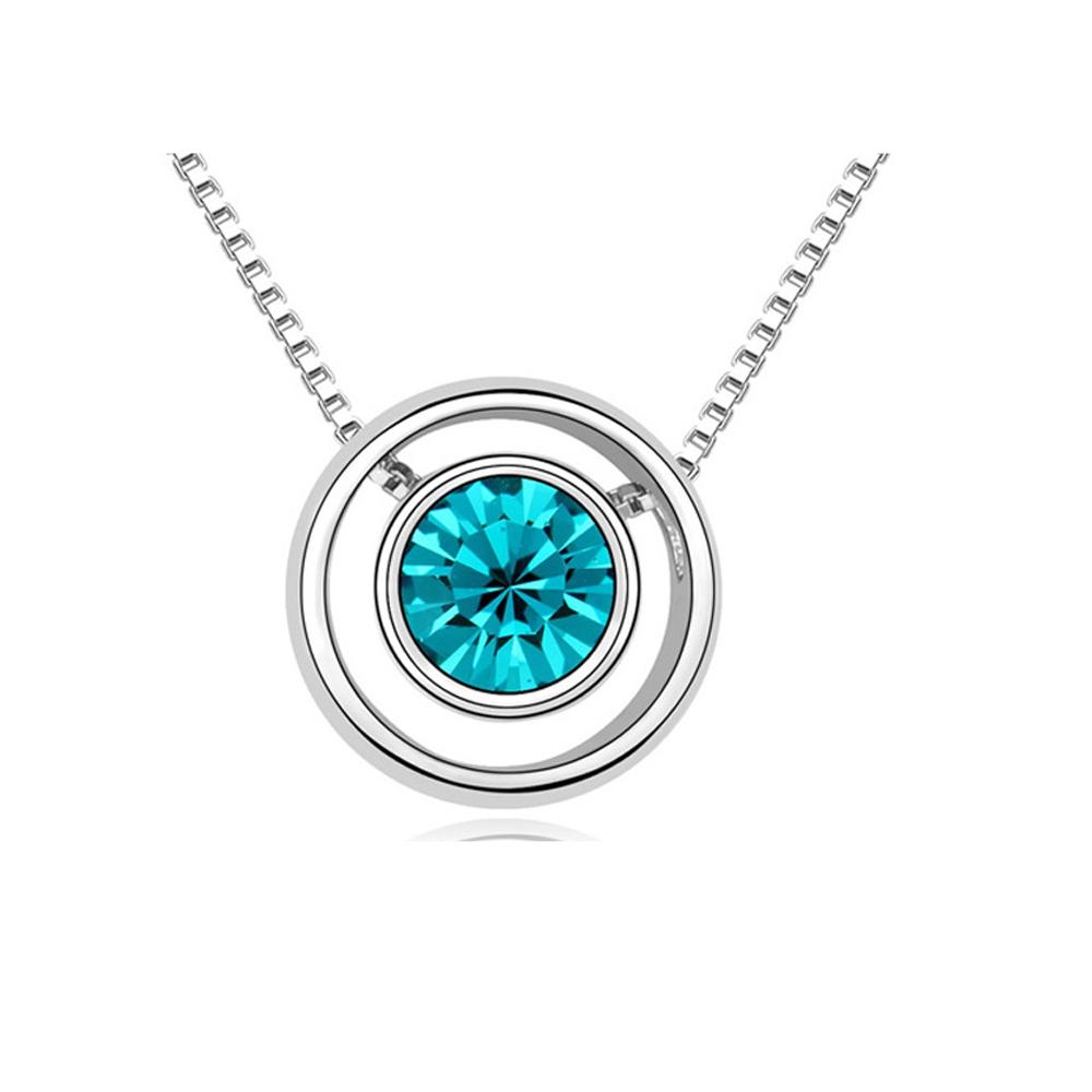 Ketten - Kreis Anhänger mit blauem Swarovski Elements  - Onlineshop Blue Pearls