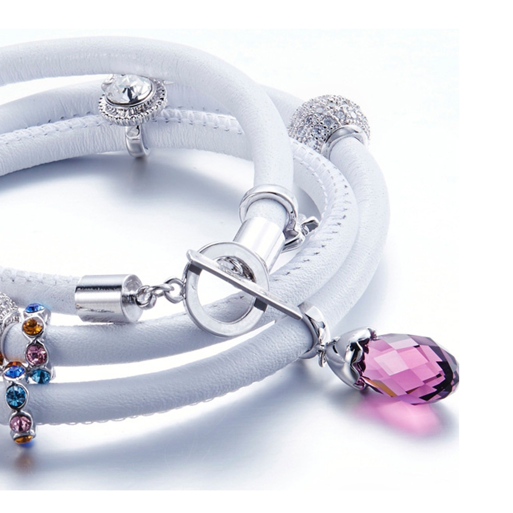 Charms Beads And Crystals Swarovski Elements White Leather