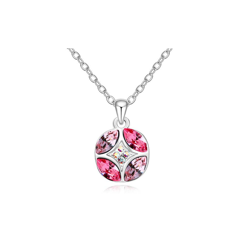 Ketten - Anhänger Swarovski Elements Kristall Rosa Gold überzogen Kreise und Weiß  - Onlineshop Blue Pearls