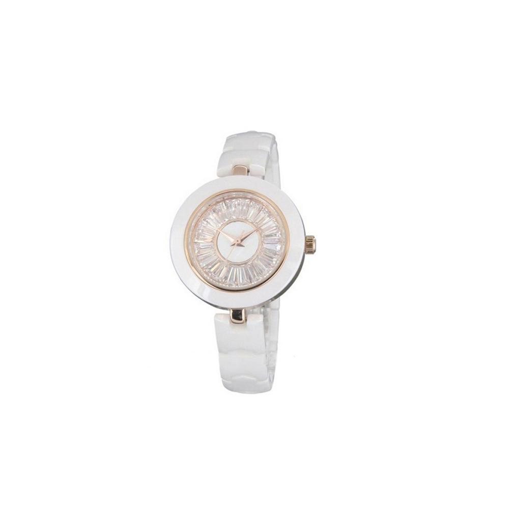 Weiße keramische Uhr und Kristall | 4742
