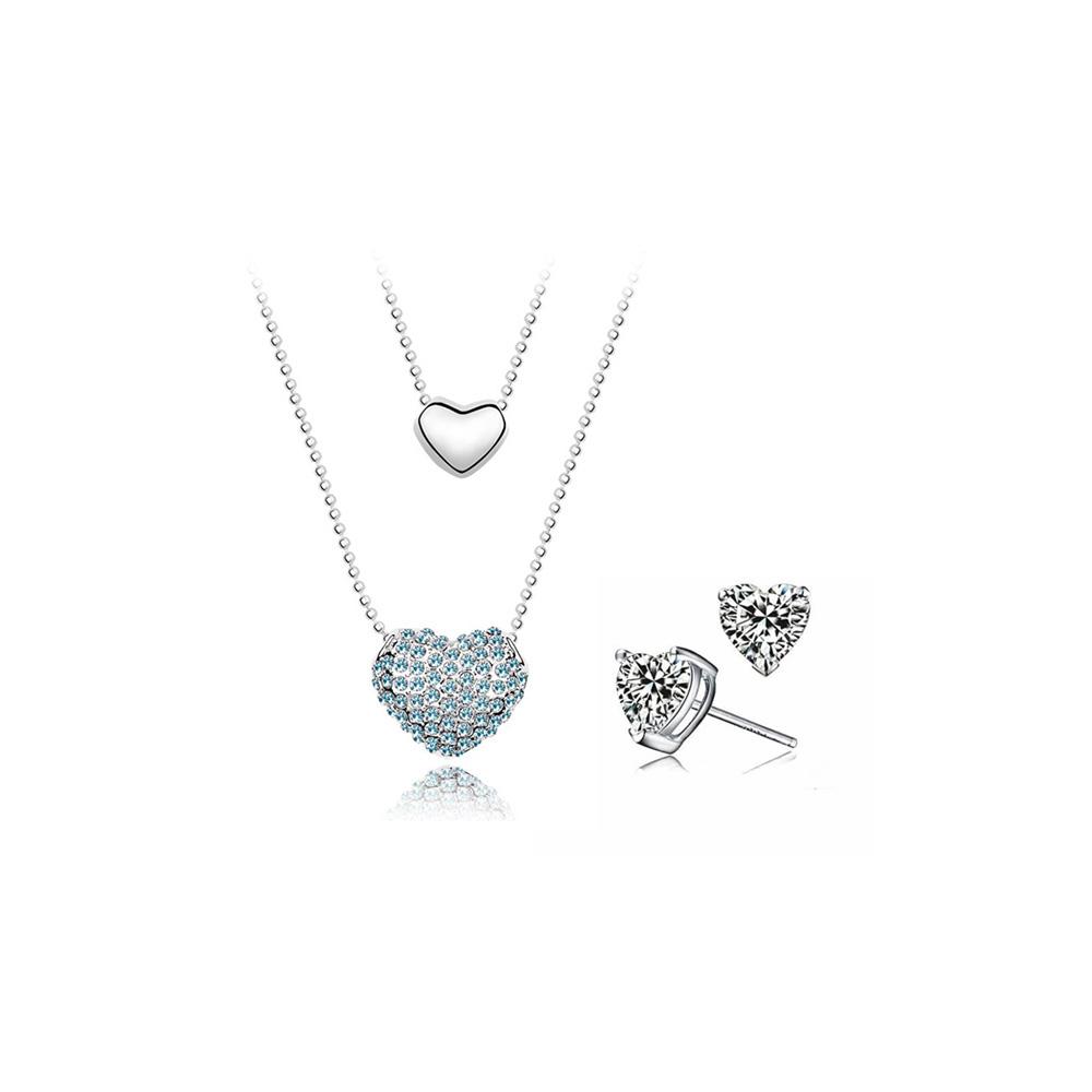 Pack Double Pendentif Coeur Bleu et Boucles Oreilles Cristal Swarovski Elements