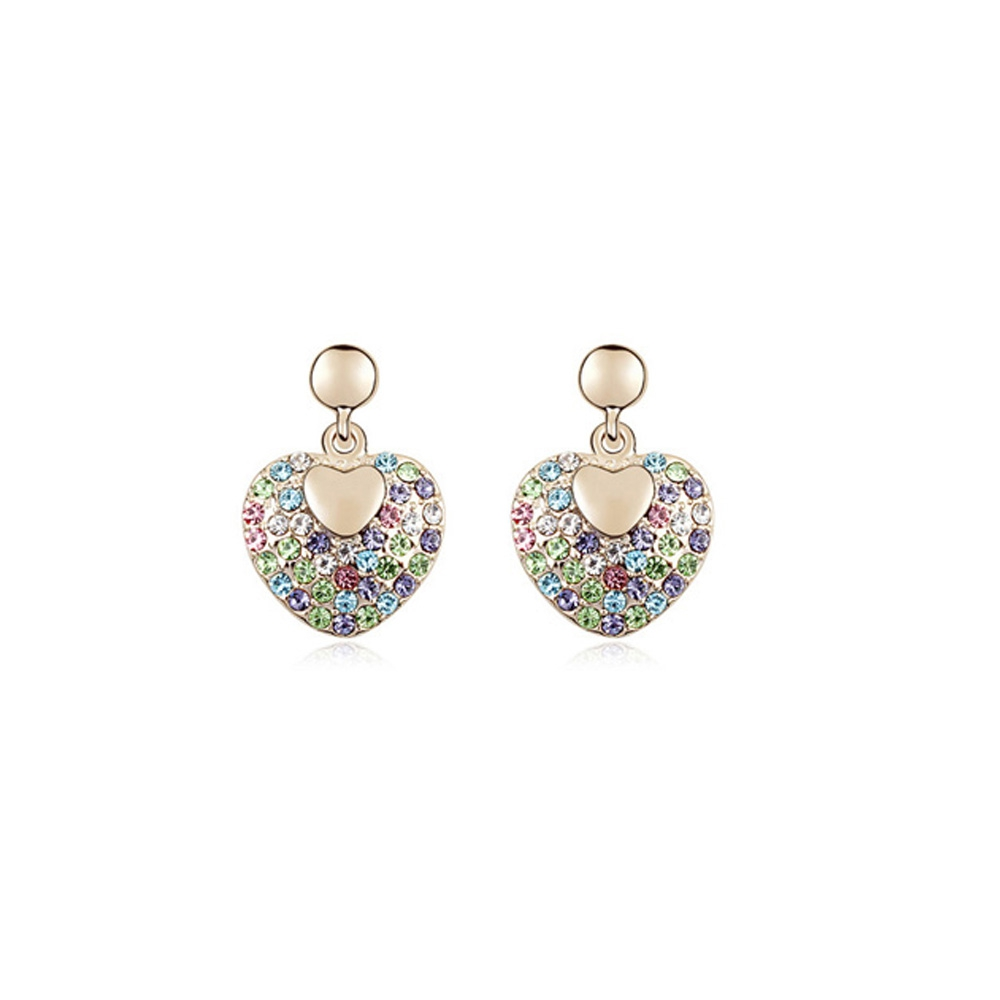 Yellow Gold plated Heart Earrings with Multicolor Swarovski Elements Crystals