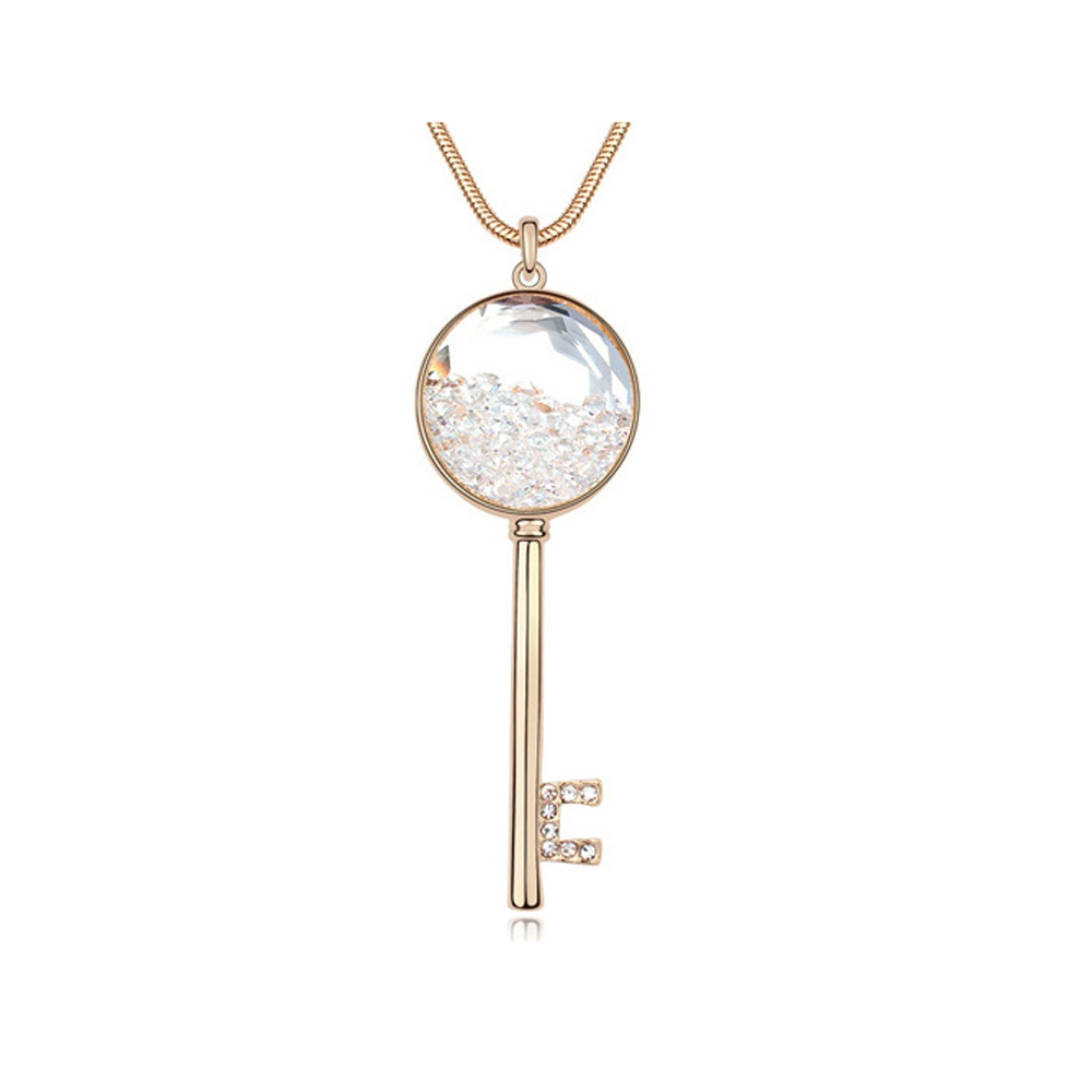 Yellow Gold Plated Key Choker Necklace with White Swarovski Elements Crystals