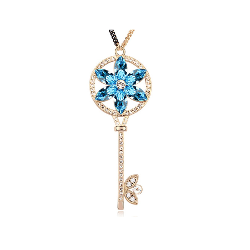Yellow Gold Plated Key with Blue Swarovski Elements Crystal Necklace
