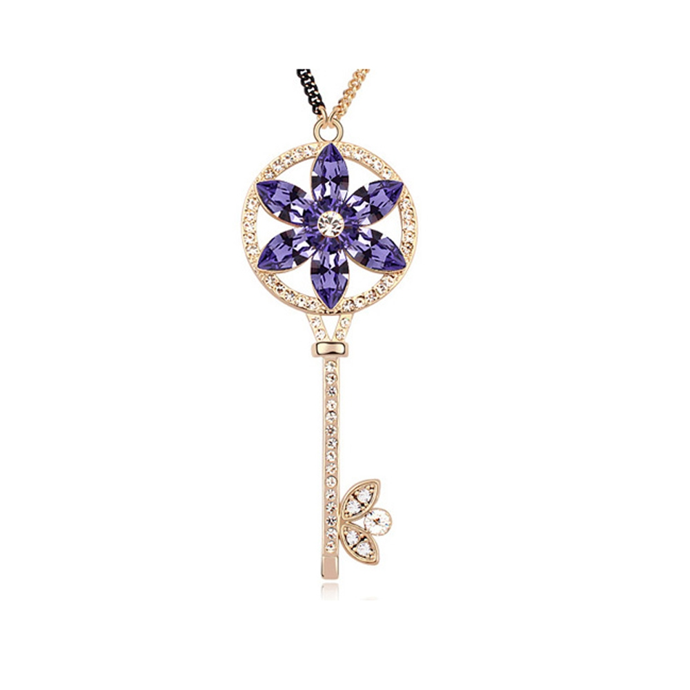 Yellow Gold Plated Key and Flower Necklace with Purple Swarovski Elements Crystals