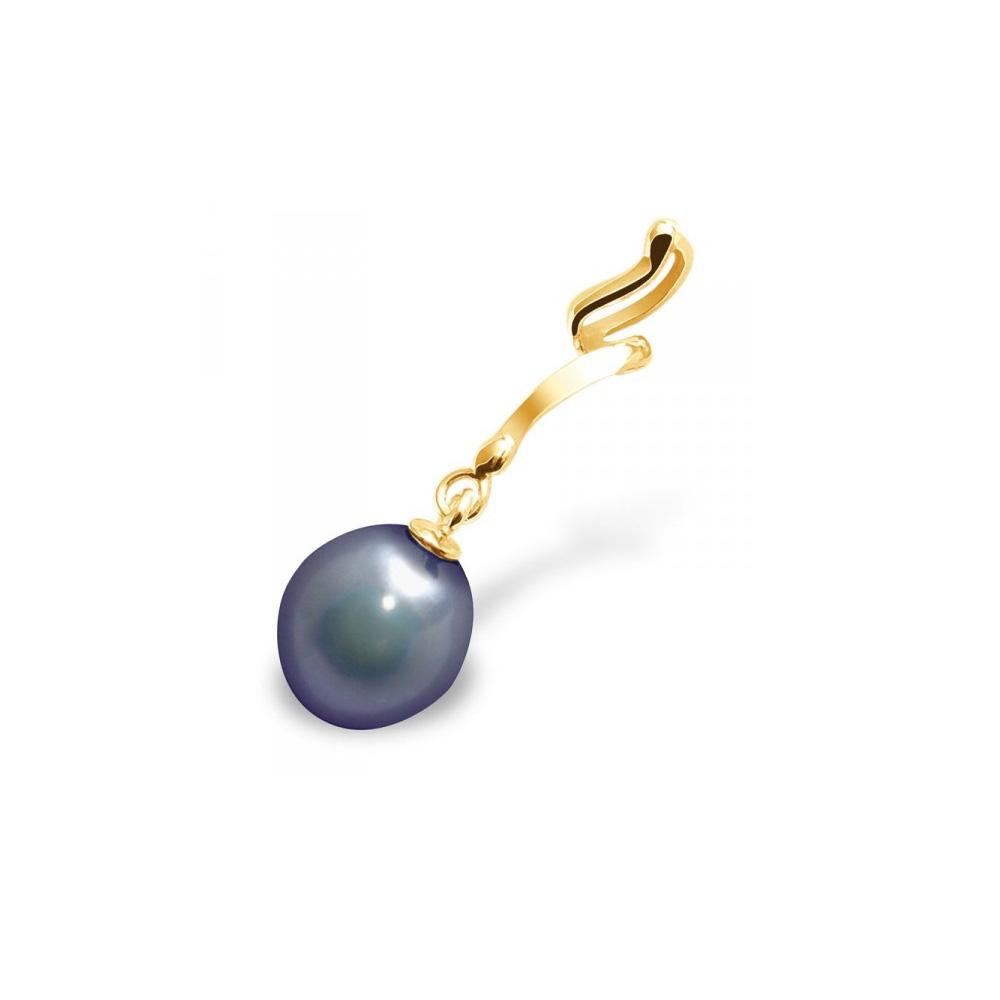 Ketten - Anhänger Schwarze Süßwasser Zuchtperlen Kultur und Gelbgold 375 1000  - Onlineshop Blue Pearls
