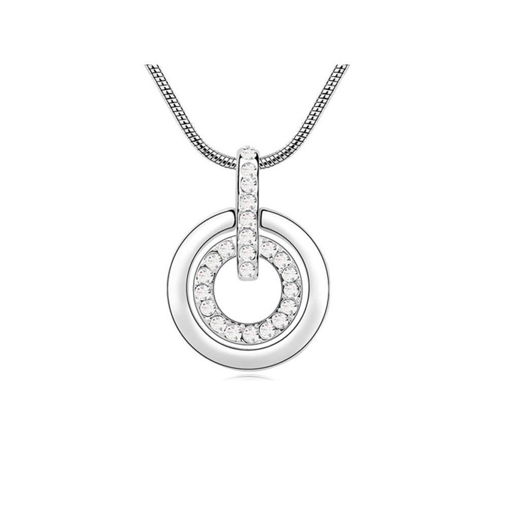 Ketten für Frauen - Multi Kreise Anhänger Swarovski Elements Weiß Kristall und überzog weißes Gold  - Onlineshop Blue Pearls