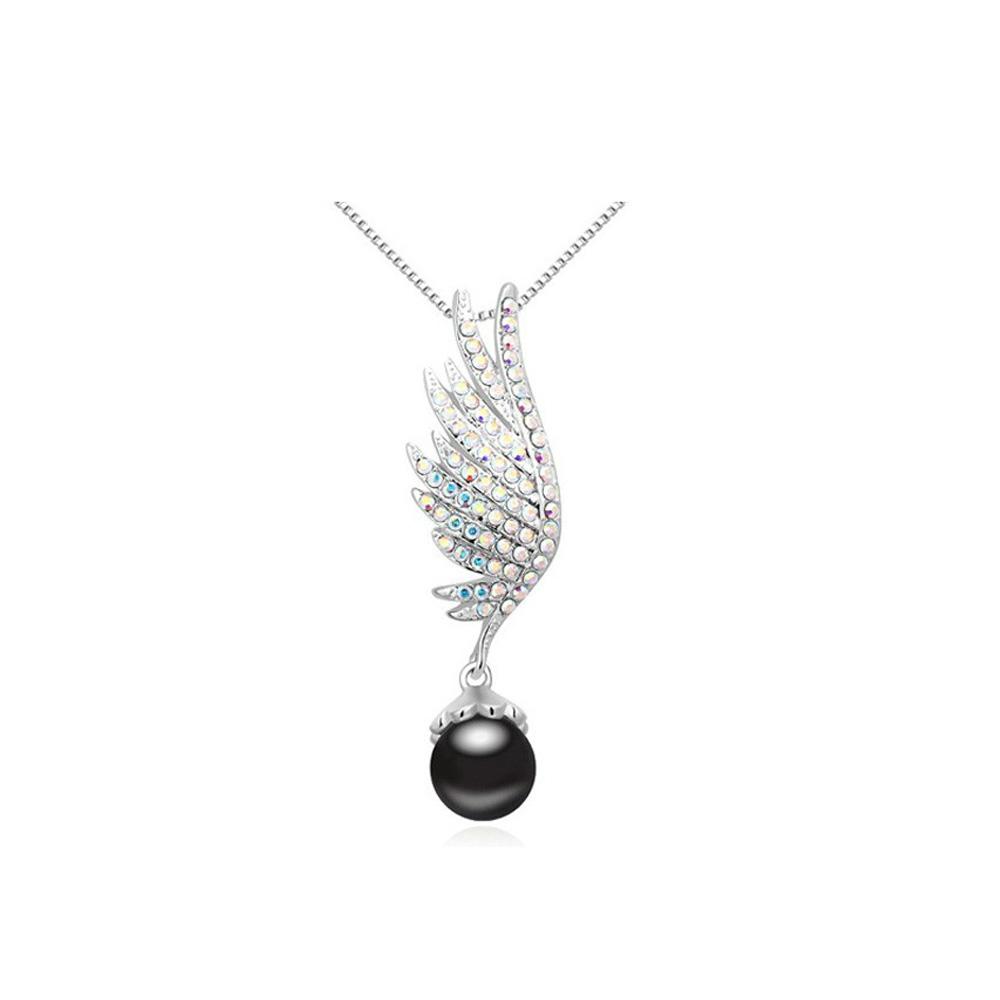 Ketten - Flügel Perlen Anhänger und Swarovski Elements Kristall weiß und Rhodium überzogen  - Onlineshop Blue Pearls