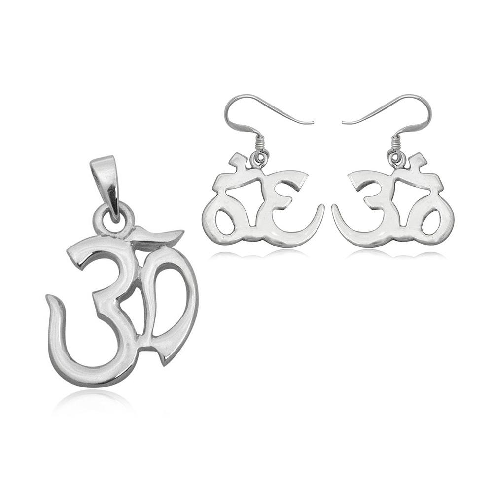 Schmucksets - Schmuckset Anhänger und Ohrringe Om 925 Silber  - Onlineshop Blue Pearls
