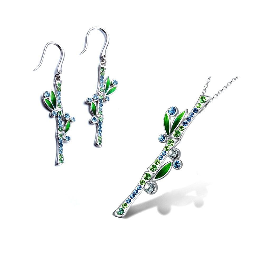 Schmucksets - Schmuckset Anhänger Ohrringe Bambus Swarovski Kristall blau grün Elements  - Onlineshop Blue Pearls