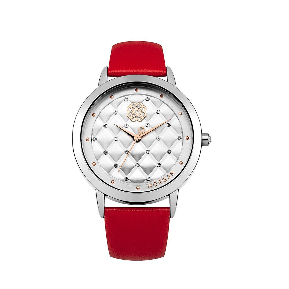montre femme morgan bracelet cuir rouge montres blue pearls. Black Bedroom Furniture Sets. Home Design Ideas