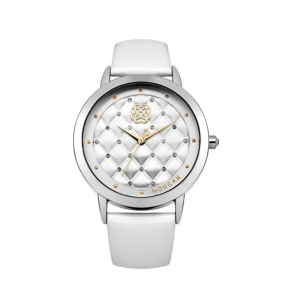 montre femme morgan bracelet cuir blanc montres blue pearls. Black Bedroom Furniture Sets. Home Design Ideas