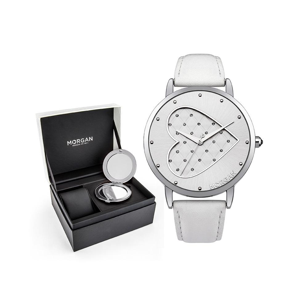 coffret montre femme morgan bracelet cuir blanc montres blue pearls. Black Bedroom Furniture Sets. Home Design Ideas
