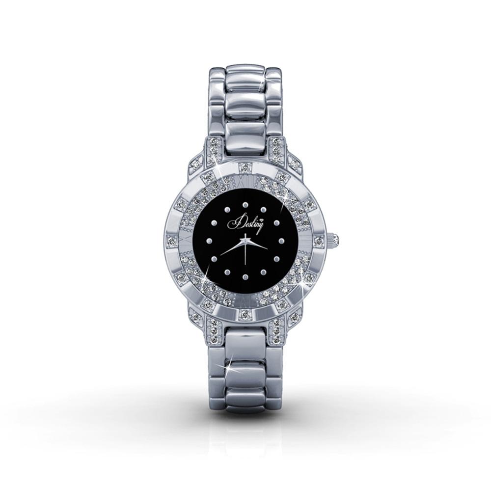 Schwarz Uhr Stahl und Kristall Swarovski Elements | 5063