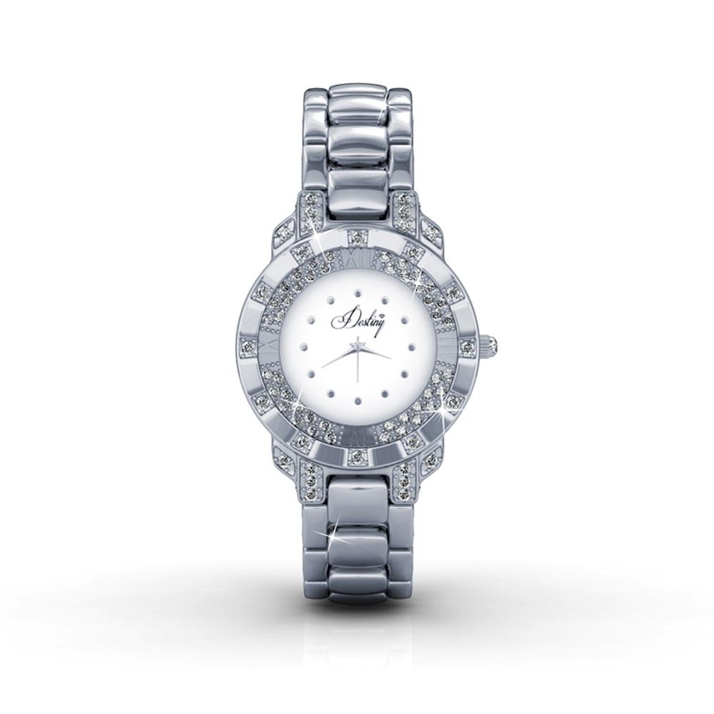 Weiss Uhr Stahl und Kristall Swarovski Elements | 5064