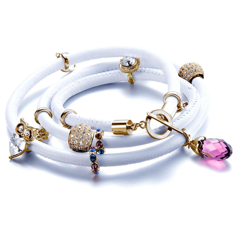 662505ab9c3a Pulsera Cuero Blanco Perlas y Charms cristales Swarovski Elements ...