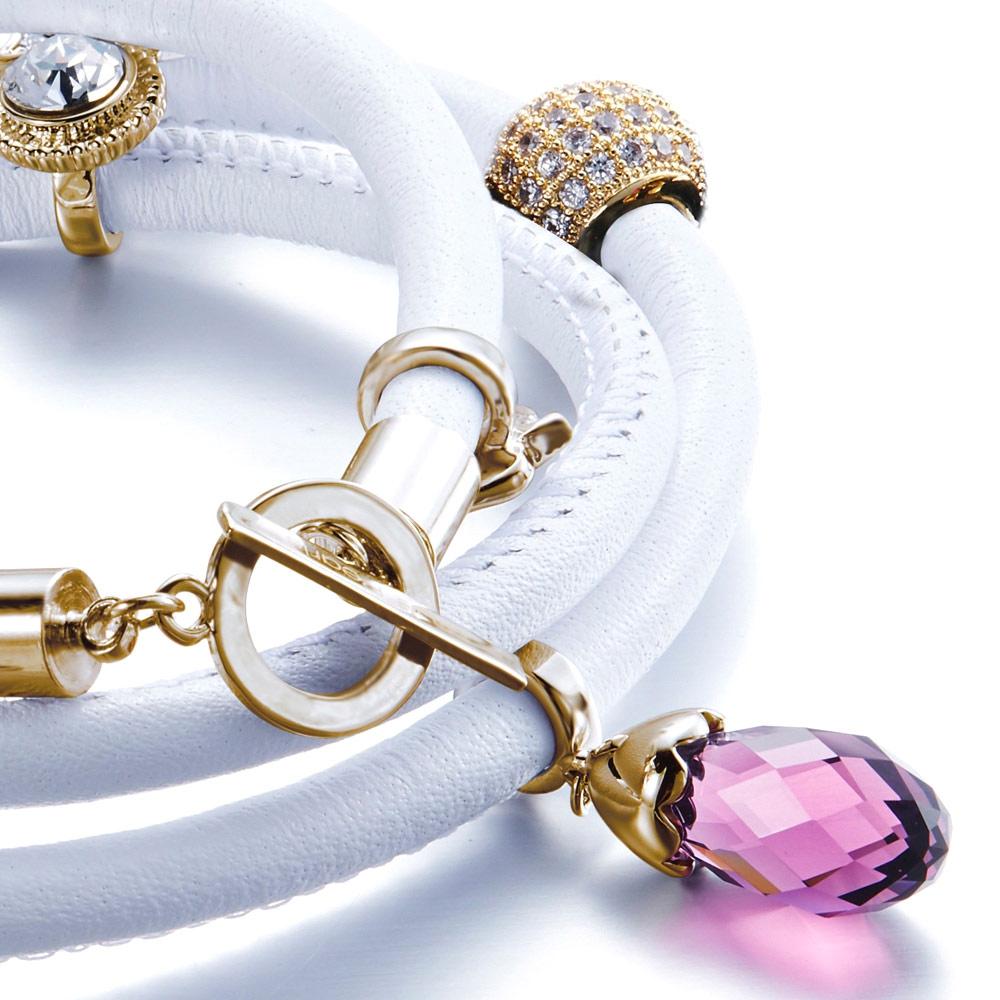 995d05e00d44 Pulsera Cuero Blanco Perlas y Charms cristales Swarovski Elements ...