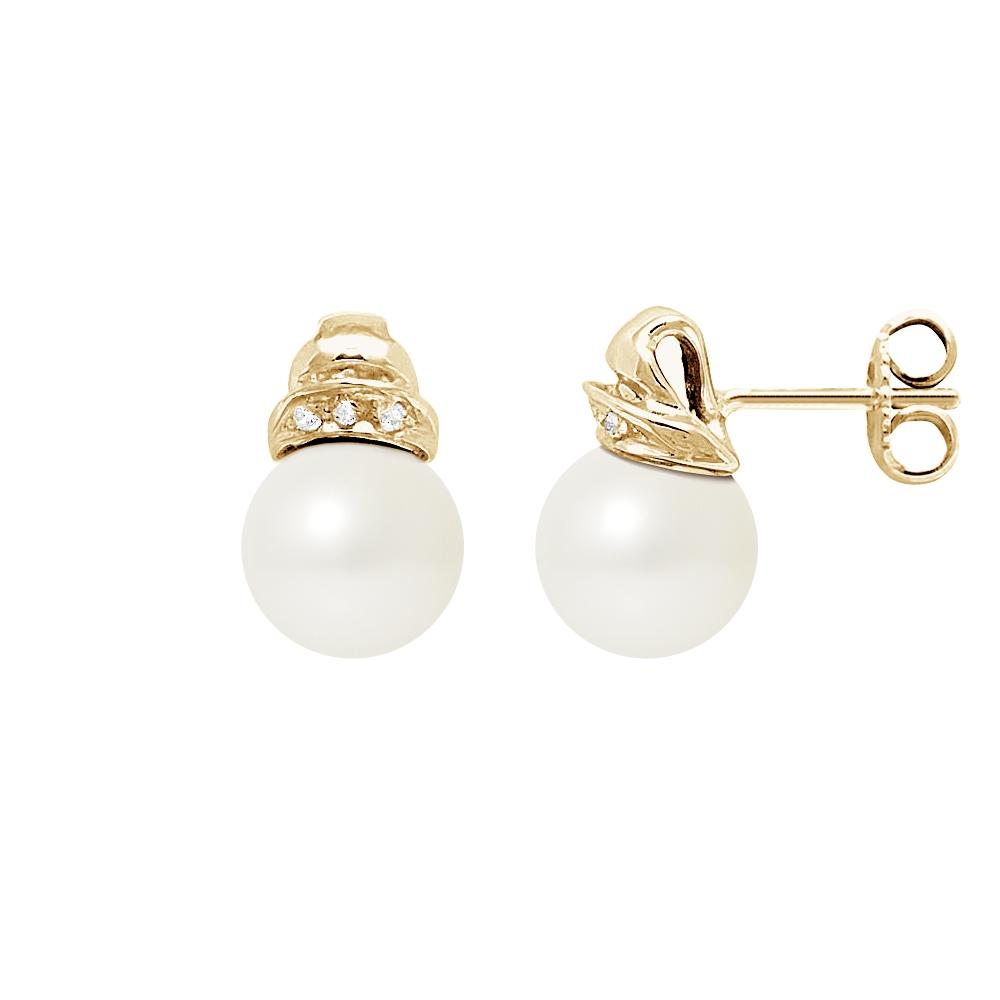 Ohrringe für Frauen - Ohrringe Weissen Süßwasser Zuchtperle, Diamant und Gelbgold750 1000  - Onlineshop Blue Pearls