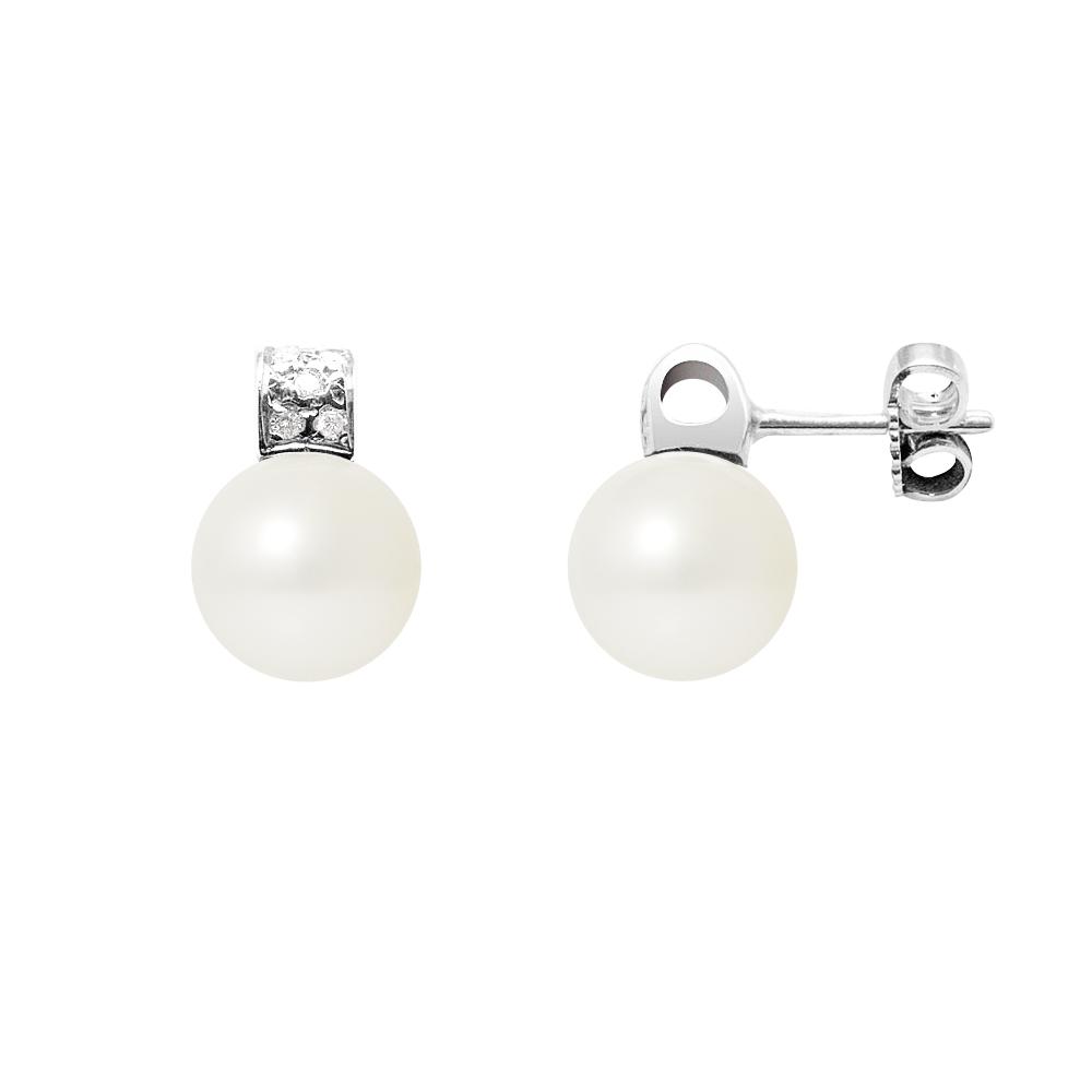 Ohrringe für Frauen - Ohrringe Weissen Süßwasser Zuchtperle, Diamant und Weißgold 750 1000  - Onlineshop Blue Pearls