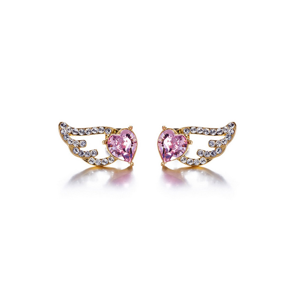 Yellow Gold Plated Wing and Heart Earrings with Pink Swarovski Element Crystals