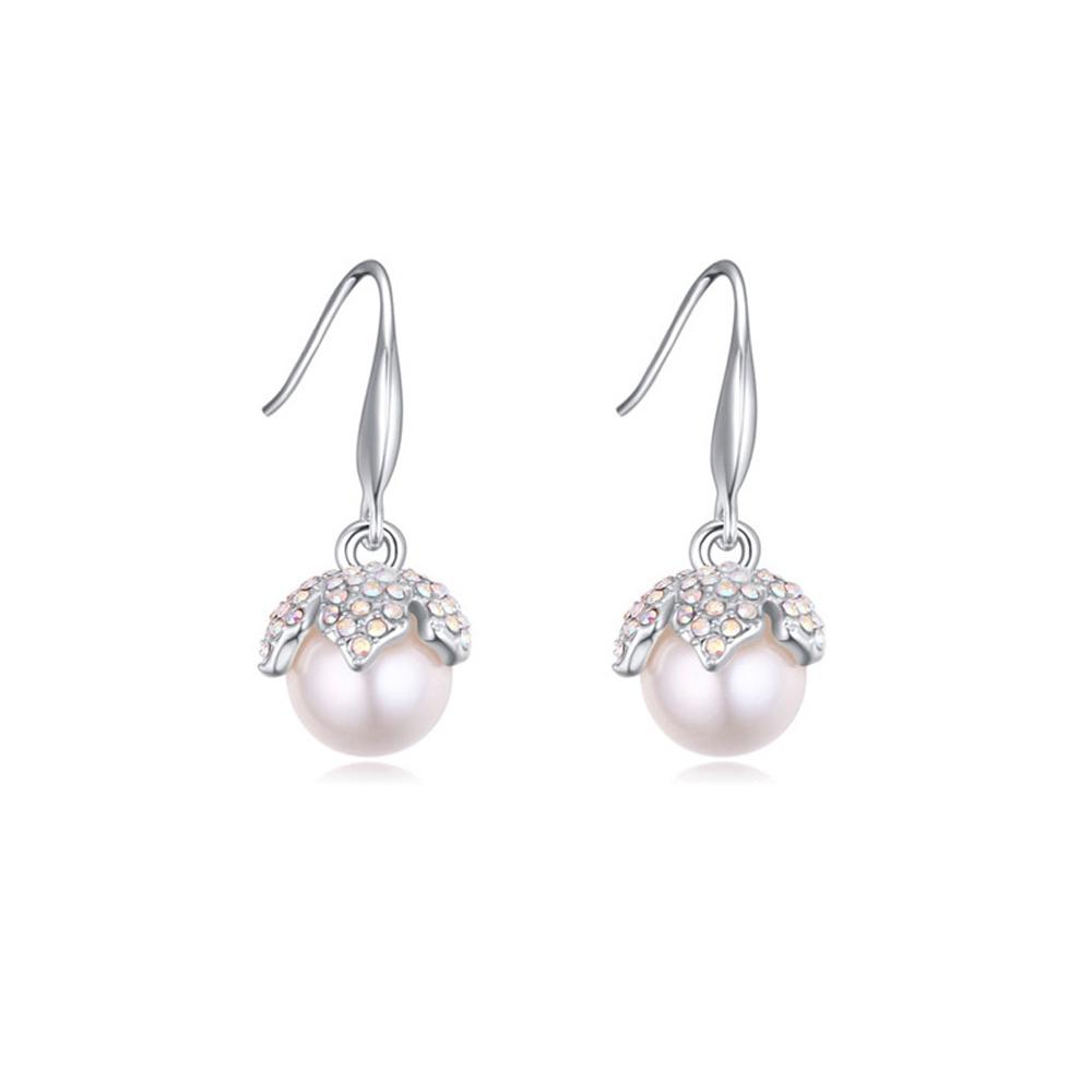 Ohrringe - Hängeohrringe mit weisser Perle und weissen Kristall Swarovski Elements  - Onlineshop Blue Pearls