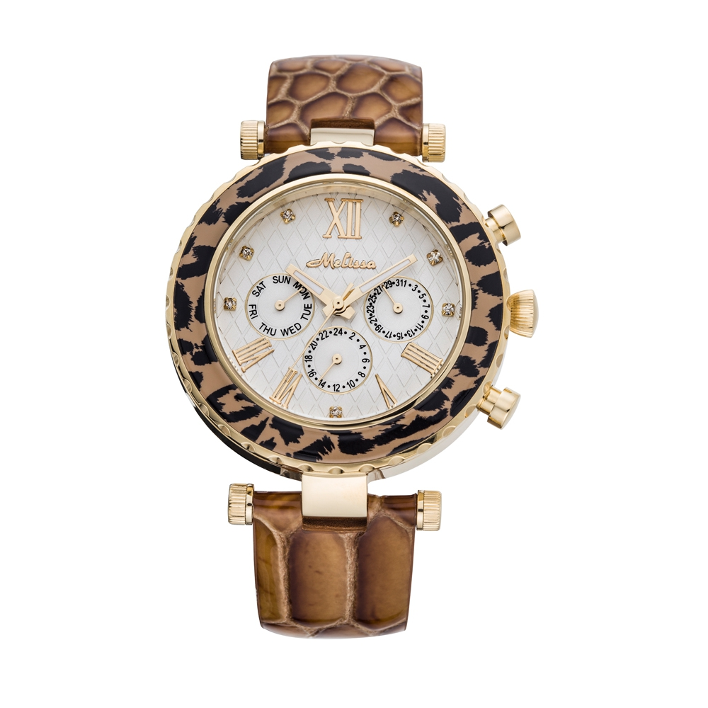 Kristall Uhr Swarovski Elements und Brauen Schlange Kunstleder Armband | 5320