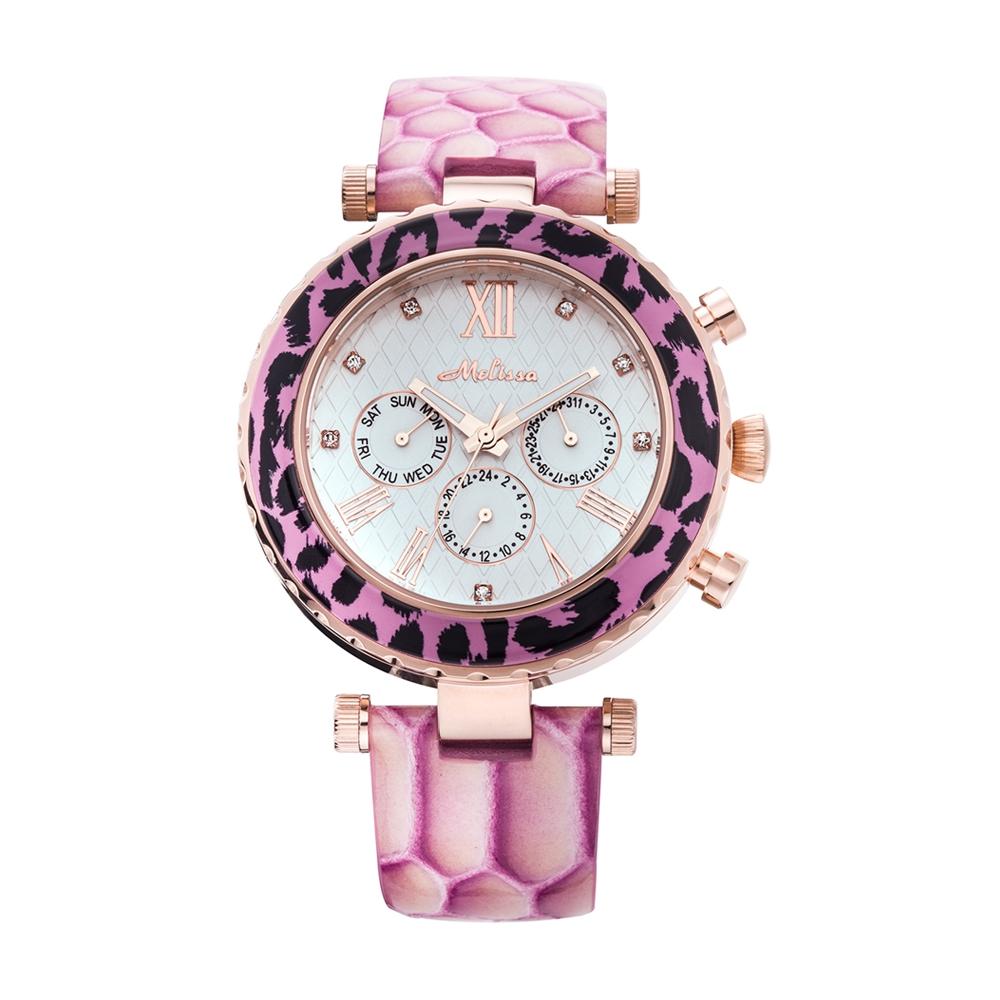 Kristall Uhr Swarovski Elements und Rosen Schlange Kunstleder Armband | 5321