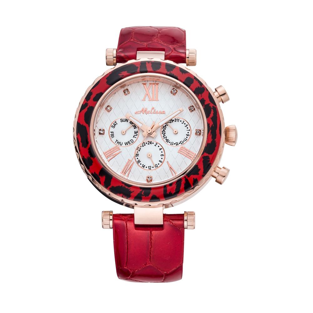 Kristall Uhr Swarovski Elements und Lederband Imitation Schlange Braune | 5322
