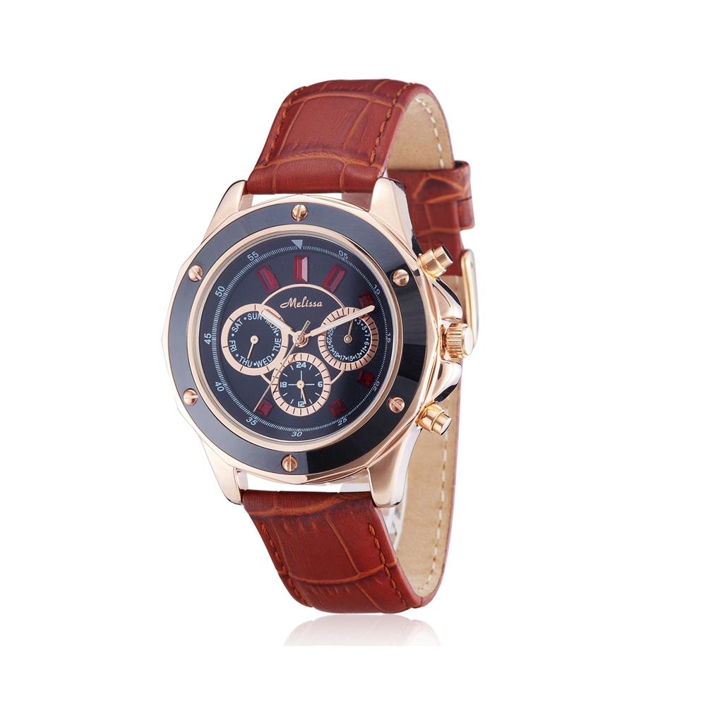 Uhr Kristall Swarovski Elements Rot und Braun Leder Armband | 5325