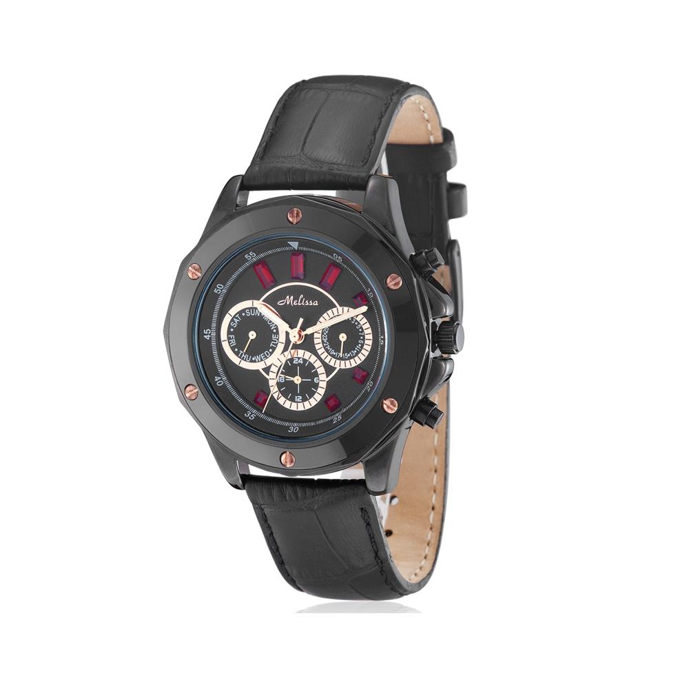 Uhr Kristall Swarovski Elements Rot und schwarzem Lederarmband | 5326