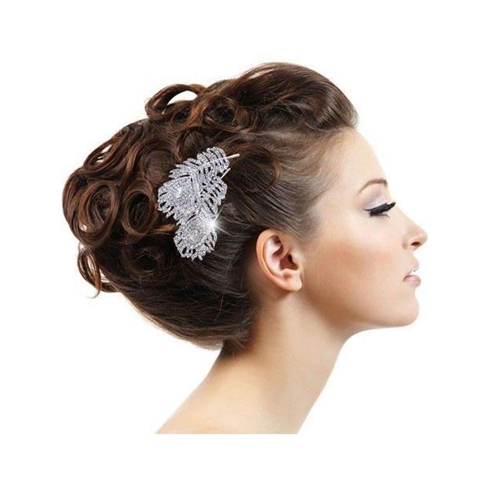 accessoire de mariage peigne cheveux plume de paon en. Black Bedroom Furniture Sets. Home Design Ideas