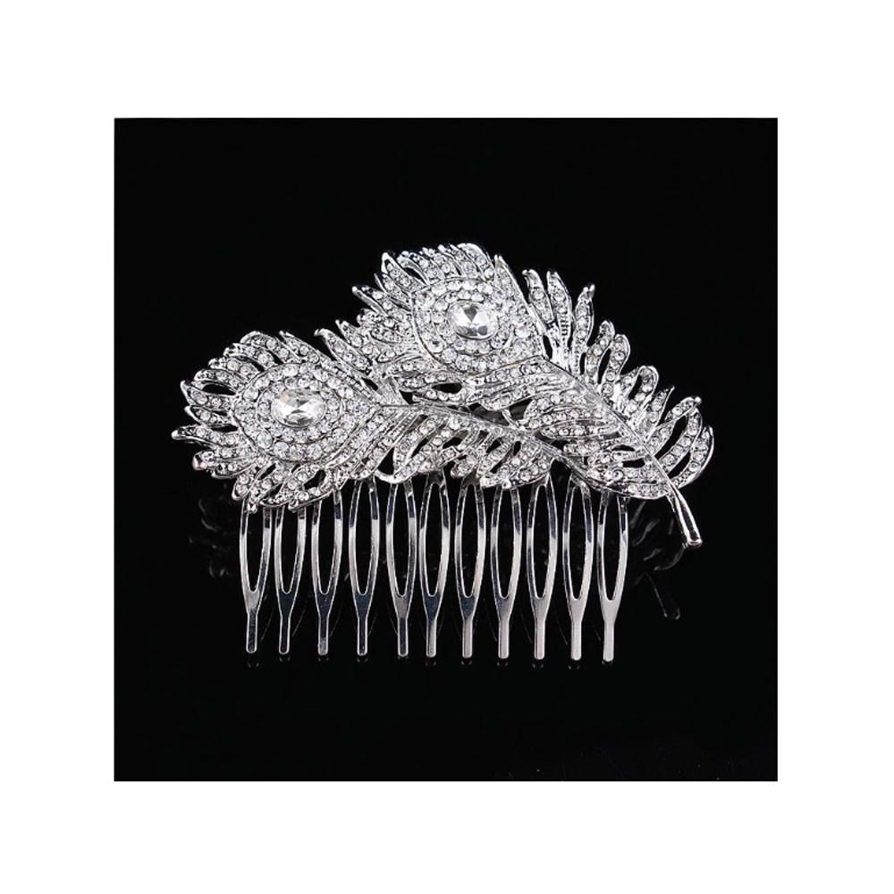 accessoire de mariage peigne cheveux plume de paon en cristal blanc accessoires coiffure. Black Bedroom Furniture Sets. Home Design Ideas