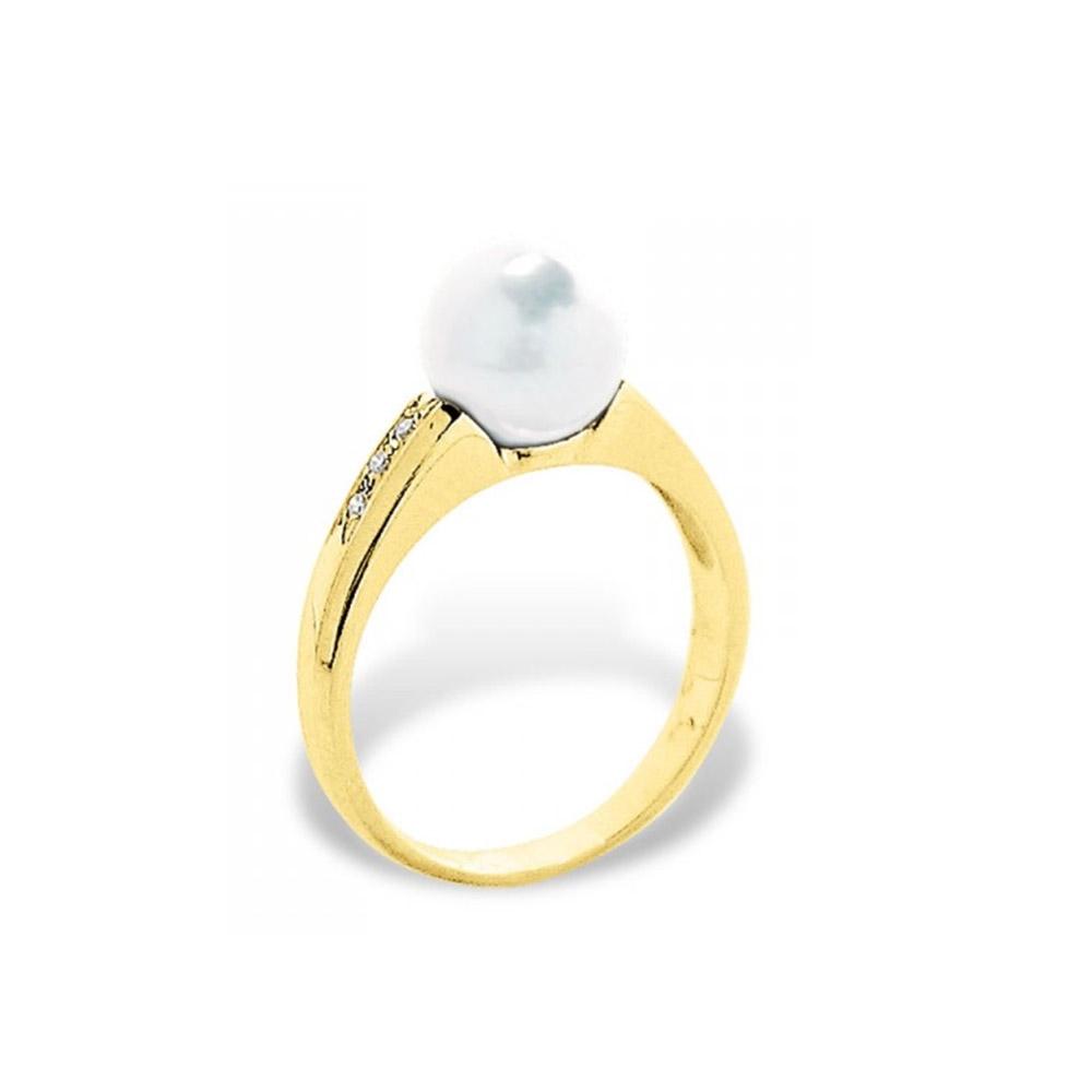 bague perle de culture d 39 eau douce blanche diamants et or jaune 375 1000 bagues blue pearls. Black Bedroom Furniture Sets. Home Design Ideas