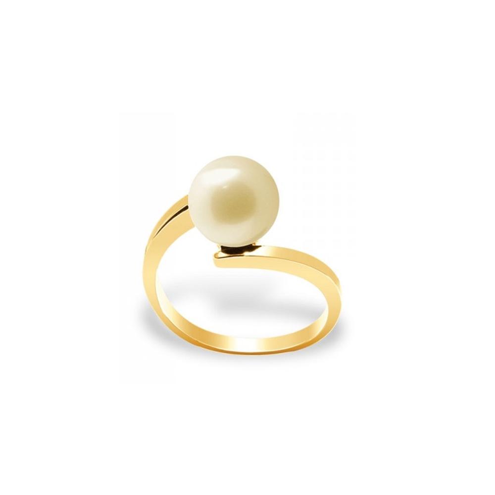 Ringe - Zuchtperlen Ring Golden und Gelb Gold Süßwasser 375 1000  - Onlineshop Blue Pearls