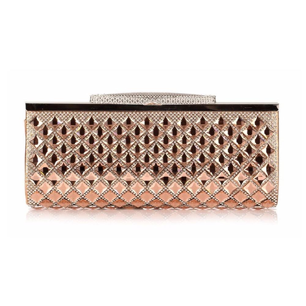 Clutches für Frauen - Handtasche Abend Goldener Beutel Kristall weiß  - Onlineshop Blue Pearls