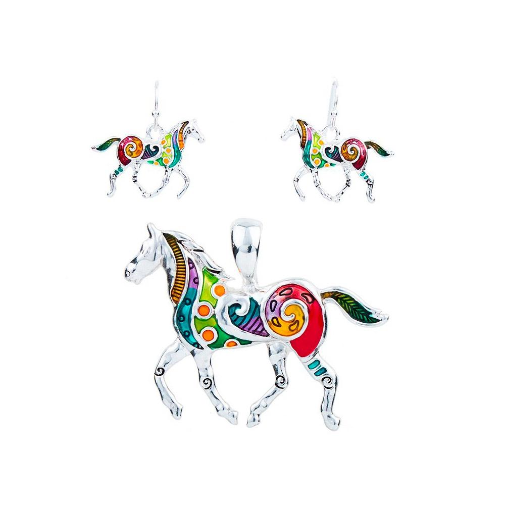 Schmuckset Anhänger und Ohrringe Pferd Mehrfarben | 5834